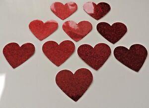 50 Valentine Red Love Hearts Waterproof Peel Off Shiny Stickers Self