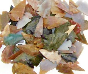 10 HAND KNAPPED STONE AGATE & JASPER ARROWHEADS FOR CRAFTS 1 to 1 1/2 SIZE