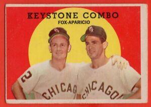 1959 Topps #408 Nellie Fox VG-VGEX MARKED Luis Aparicio Keystone Combo FREE SHIP