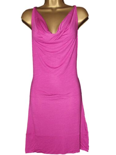 NEW LADIES GIRLS AMPLIFIED PINK COWL NECK BACK BEACH DRESS TUNIC COVER UP SZ S//M