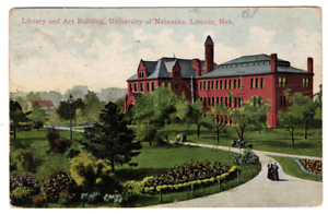 VTG-Postcard-1912-University-of-Nebraska-Lincoln-Nebraska-Library-Art-Bldg-J20