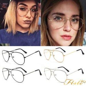 Vintage Classic Fashion Pilot Aviator Sunglasses Clear Lens Glasses Geek New UK