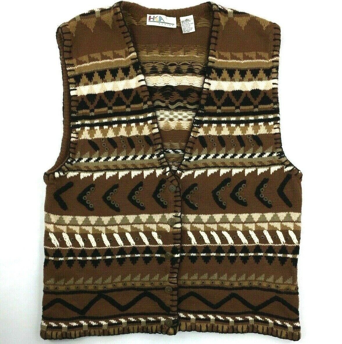 VTG HKA Women's XL Brown Knit American Native Sweater Vest Embellished Buttons