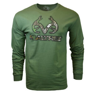 REALTREE-Mens-Long-Sleeve-M-L-XL-T-Shirt-Deer-Camo-Logo-Hunting-Buckhorn-NEW