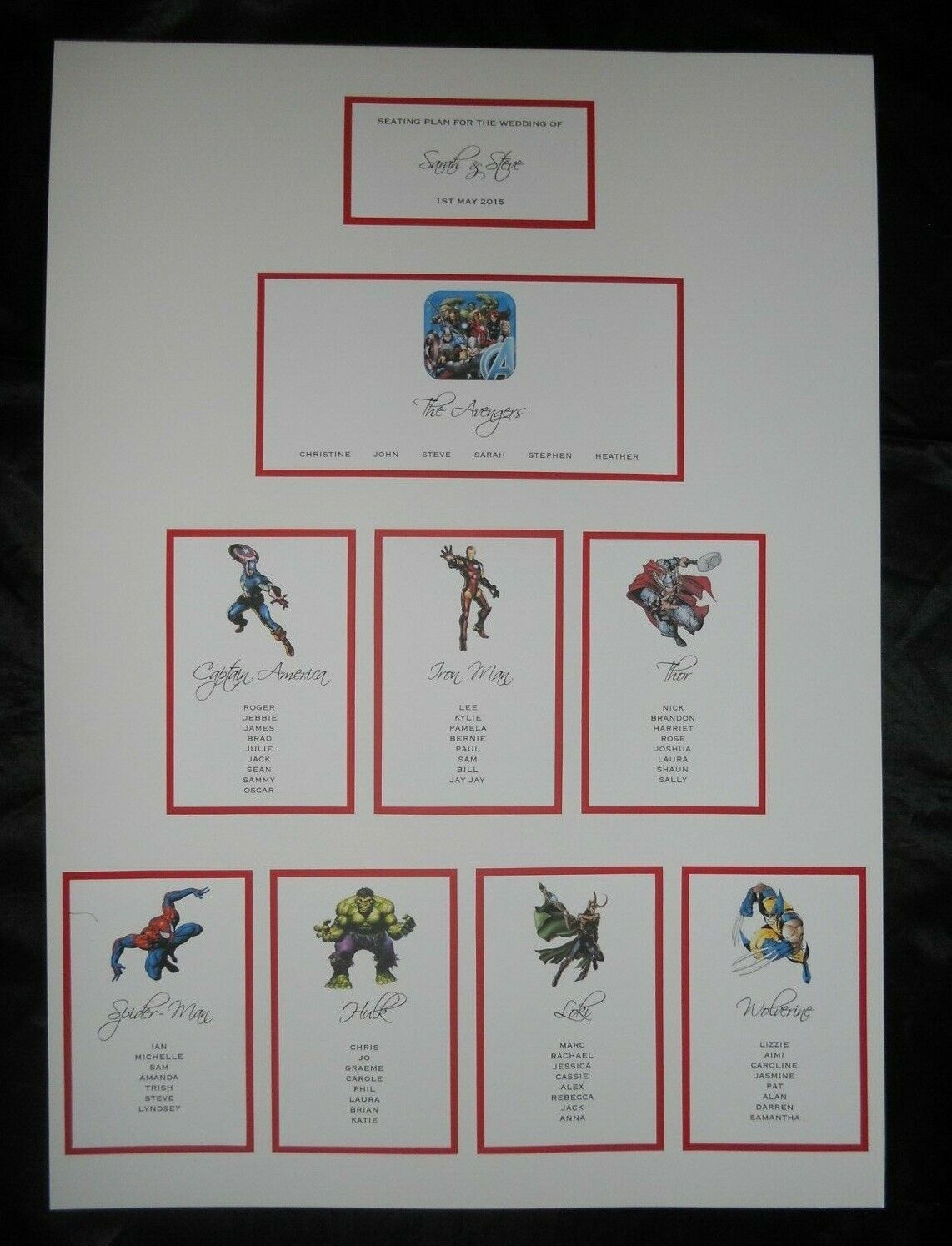 A2 SUPERHERO WEDDING TABLE PLAN MARVEL DC HEROES COMIC BOOK SEATING PLAN CHART