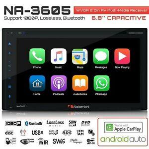 "NAKAMICHI NA3605 2-Din 6.8"" Apple Car Play & Andriod Auto CD DVD USB Car Stereo"