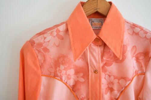 60s/70s Women's S Karman Western Ombre Coral Apric