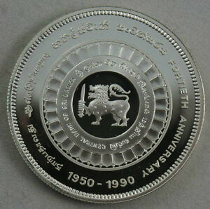 SRI-LANKA-500-Rupees-1990-Silver-Proof-Central-Bank