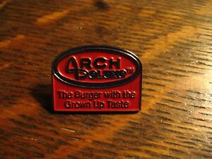 McDonald/'s Arch Deluxe The Burger with the Grown up Taste Pin Lapel Employee Red