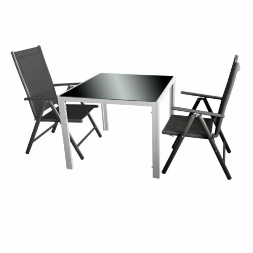2 hochlehnerstühle Gris//Noir Jardin Balcon Salon 3tlg table 90 cm