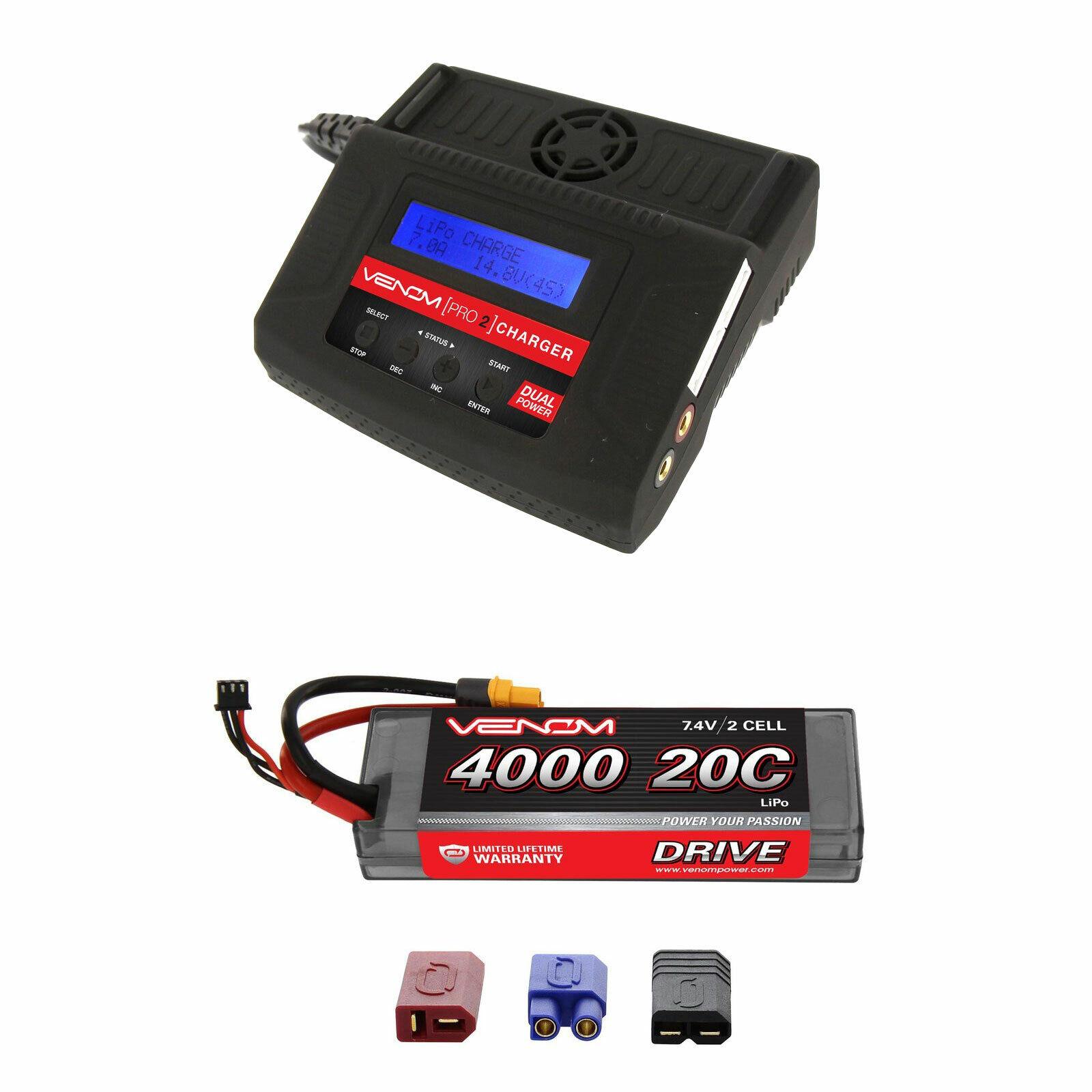 Venom 20C 2S 4000mAh 7.4V batería LiPo con Pro 2 Cargador Combo