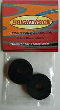 Four BLACK Rubber Guitar Strap Locks - Famous Classic Design & Great Reliability
