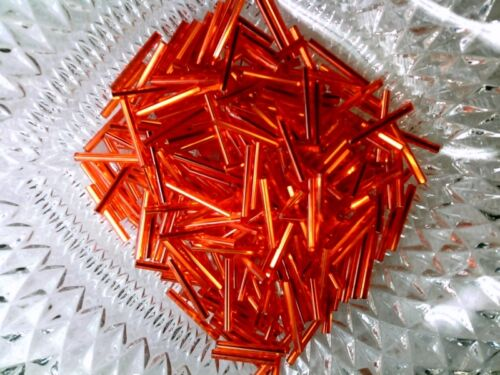 Vtg 300 HOT ORANGE FIRE 19-20mm SPECTACULAR GLASS BUGLE BEADS  #040514o