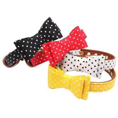 PU Leather Cat Collar kitten Bow Tie Safety Elastic Bowtie Bell Pet Supplies Dog