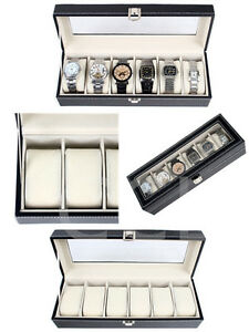 Business & Industrial Reliable Faux Leather Watch Case Storage Display Box Organiser Jewelery Glass Top