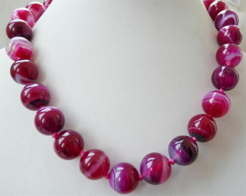 """10mm AAA Natural Pink round Striped agate gemstone necklace 18/"""""""