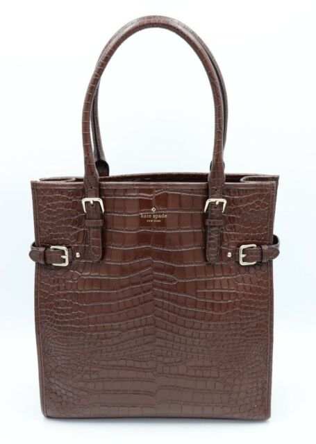 Kate Spade New York Vanston Brown Croc Leather Jackson Tote Shoulder Bag 528
