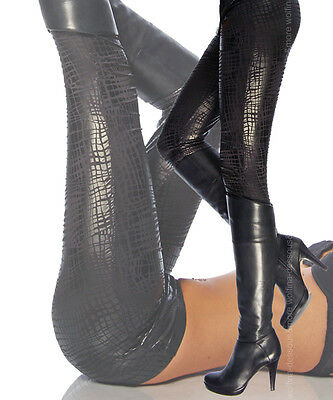 Sexy Wetlook Leggings Glanz Leggins Reptil Kroko Leder Look Hose S M L schwarz