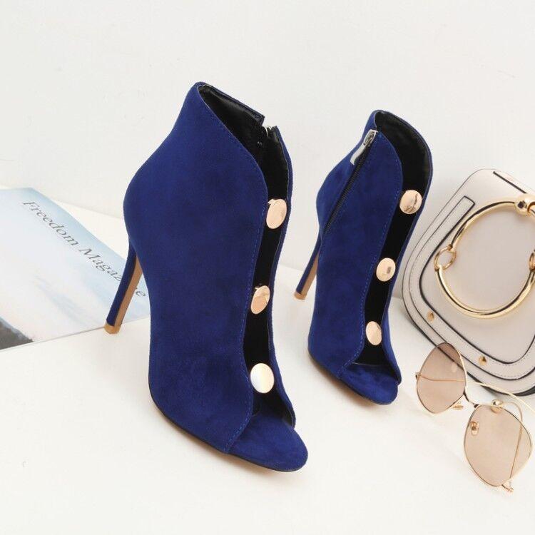 Women Slim High Heels Peep Toe Solid Suede Ankle Boots Side Zip Sandals shoes Sz