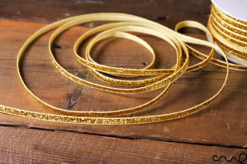 Velvet Glitzy Glitter Ruban 5 mm de large brillant ruban doré Mariage Couture Craft