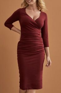 BRAVISSIMO-new-Ladies-3-4-Sleeve-Leila-jersey-Midi-Work-Evening-Party-Dress-BR42