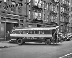 Photograph-New-York-Engine-Company-56-Bus-Ambulance-Year-1949-8x10
