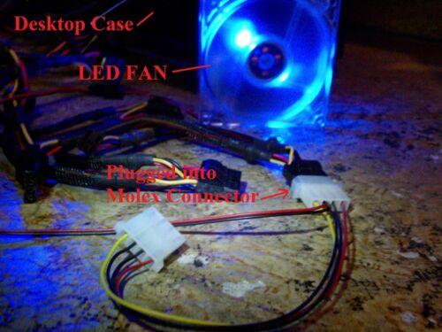 92mm LED BLUE FAN with Male//Female Molex connector computer desktop case cool