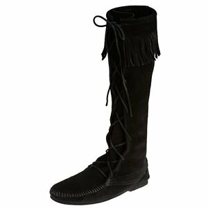 Image is loading Minnetonka-Mens-1929-Black-Suede-Front-Lace-Hardsole-