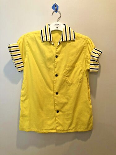 Vintage Shirt Yellow 1950s Rockabilly Youth Large