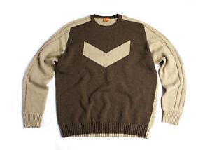 8e6425d0d HUGO BOSS Orange Label Wool Blend Brown Jumper Sweater Pullover SIZE ...