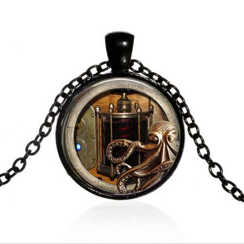 Vintage Steampunk Octopus cabochon en verre Noir Chaîne Collier Pendentif