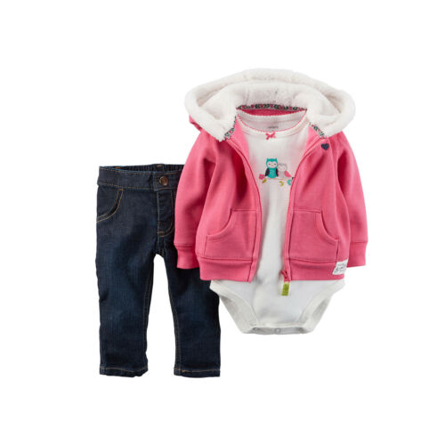 Carter/'s Baby Girls 3PC OWL Heart Sherpa Hood Cardigan Denim Pant Set 6M 12M NWT