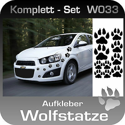 W017 Autoaufkleber Cartattoo Spuren Wolf Tatze  Klebefolie viele Farben Komplett