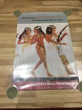 "Vintage Metropolitan Museum Of Art Egyptian Facsimile Wall Paints 25x38"" Poster"
