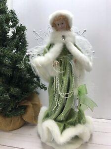 Christmas-Victorian-Girl-Angel-16-034-tall-Figurine-Green-Dress-Faux-Fur-Pearls