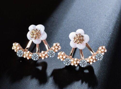 Neue Ohrringe Blumen Blüte Strass Schmuck Frauen Ohrstecker silber gold Damen