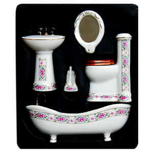 1-12-Ceramic-Bathroom-Set-Dollhouse-Miniature-Furniture-Bathtub-Commode