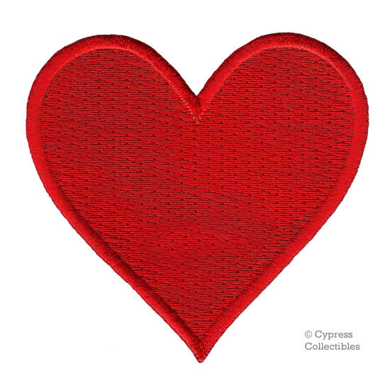 Red Heart Patch Embroidered Iron On Applique Romantic Love Symbol
