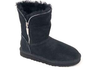 6bec3df22af Details about Ugg Australia Kid's FLORENCE Black 1016992K Classic Short  Zipper Youth Boots