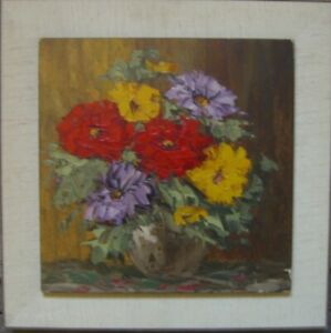still-Life-Oil-Paintings-illegible-Signed-Colourful-Flowers-Red-amp-Yellow-Antique