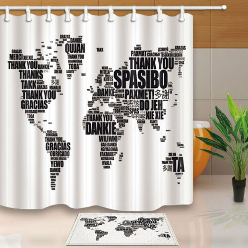 Thank You in many languages World Map Shower Curtain Bathroom Fabric & 12hooks