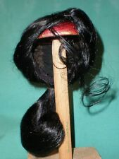 "doll wig/ human hair 9"" to 10""  black with ponytail"
