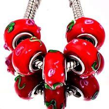 5Pcs Silver GF Crystal MURANO GLASS RED BEADS Fit European DIY Bracelet D8204