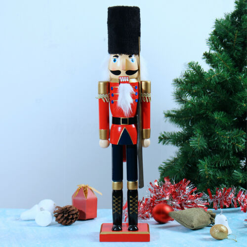 60cm Wooden Nutcracker Doll Soldier Retro Style Ornaments Christmas Home Decor