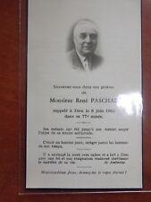 █ Faire-part de décès henri rêne PASCHAL 1962  P3