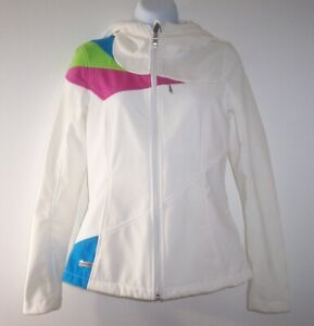 SPYDER White COLOR BLOCKED JACKET WOMEN'S S Fleece Lined Faux Fur Lined Hood