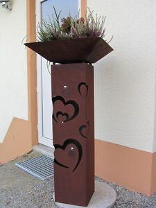 Saeule-Rost-Herz-Edelrost-Metall-Edelstahlkugel-Gartendeko-Stele-Dekoration-Liebe