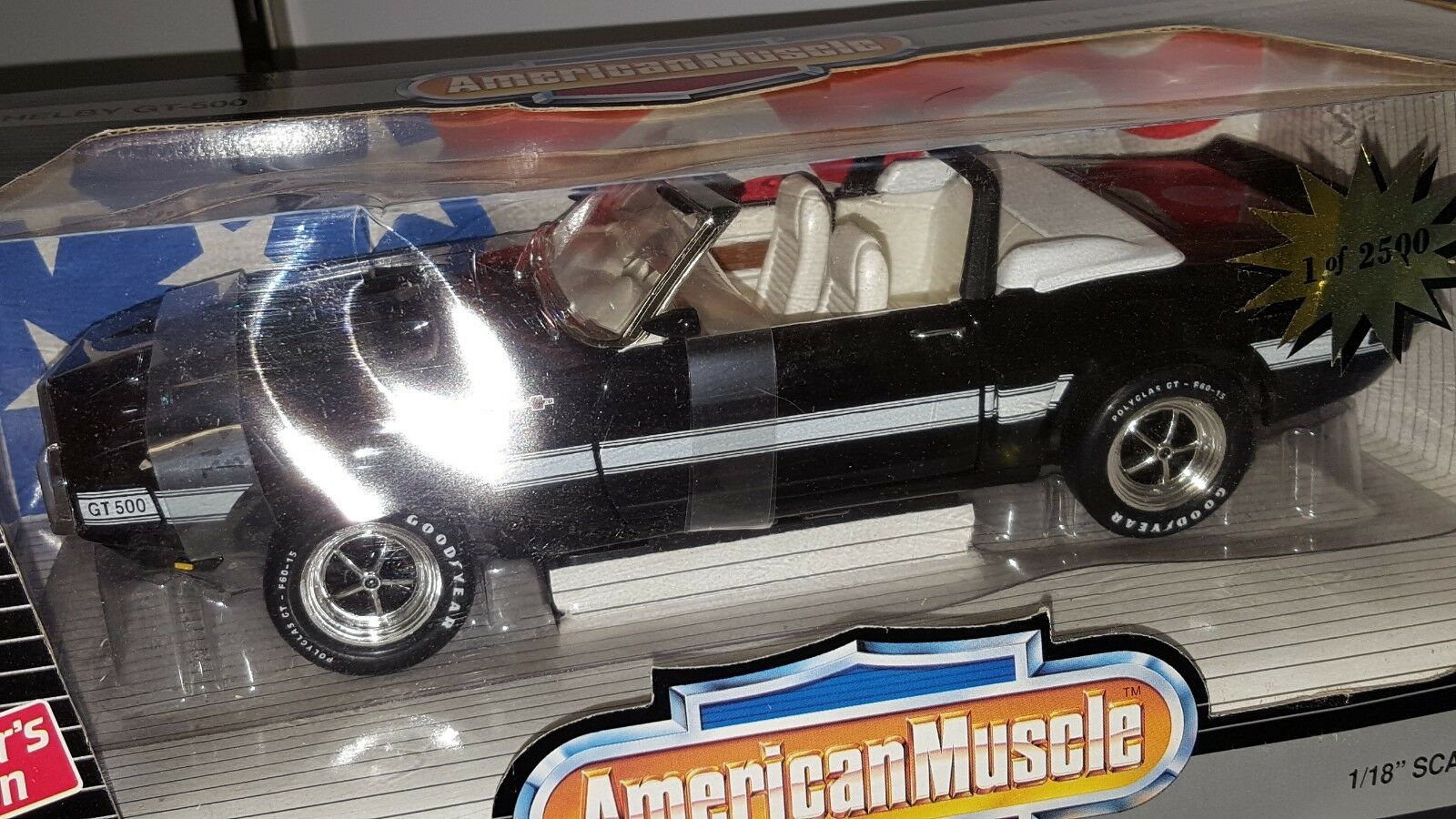 1 18 Ertl American Muscle 1969 Ford Shelby GT-500 Converdeible Negro Od