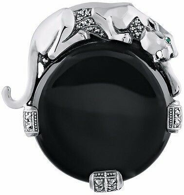 FROM ARI D NORMAN NATURAL ROCK CYRSTAL EMERALD EYES PANTHER BROOCH ONYX
