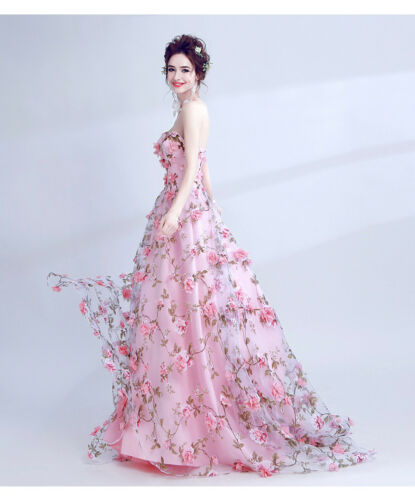 Women Floral Flower Off Shoulder Party PromGown Wedding Bride Backless Mop Dress